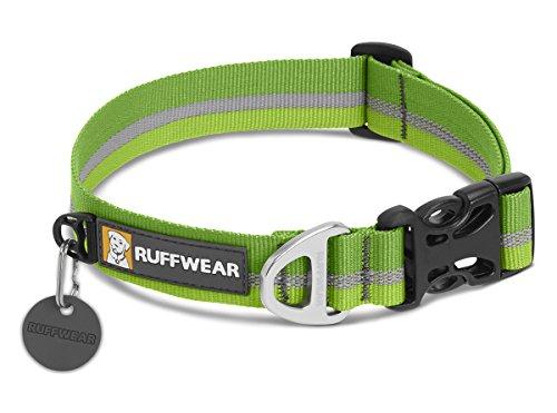 Ruffwear Hundehalsband mit Reflektorstreifen, Mittelgroße Hunderassen, Größenverstellbar, Größe: M (36-51 cm), Grün (Meadow Green), Crag Collar, 25801-3451420
