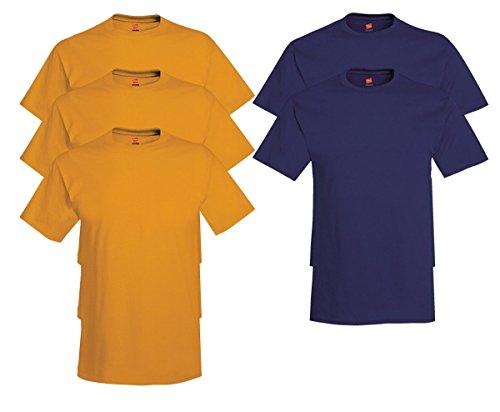 Hanes Men's Tagless Comfortsoft Crewneck T-shirt (Pack of 5) 3 Gold / 2 Navy