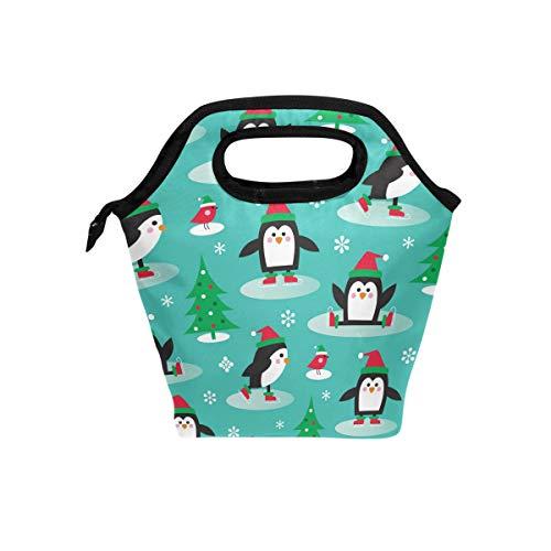 Ahomy Lunchbox Pinguine auf Schlittschuhen, wiederverwendbar, tragbar und wasserdicht, für Männer und Frauen und Erwachsene - Pinguin Lunch-box