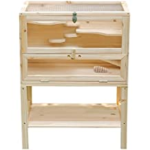Songmics Jaula de madera para roedores Casa para Hamster Chincilla - XL 80 × 40 × 60 cm PHC002