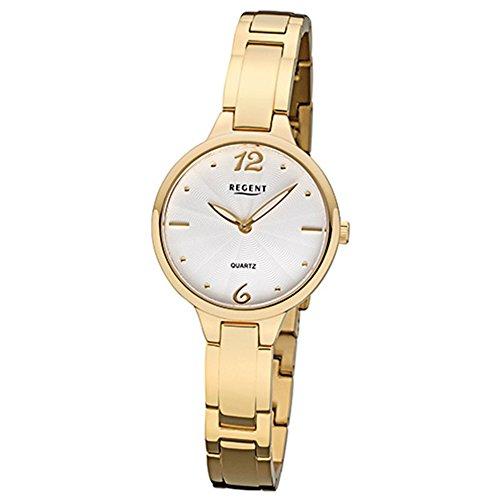regent women's quartz watch with elegant analog titanium gold quartz dial white bracelet urf1096