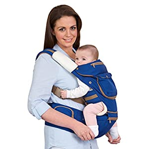 41XNq2w3EnL. SS300  - ClevaMama Baby and Toddler Hip Seat Carrier (5 Positions, Ergonomic, Approved as Hip Healthy)