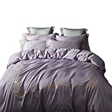 ZHQHHX Bed Sheet Set Cotton Set Quilt Copripiumino Lenzuolo/Bed Lussuoso Set Federa Orientale Ricamo Federa 4Pieces (Color : Viola, Size : 1.8m)