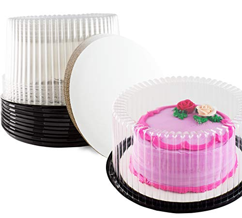 Kuchen Display Container 10 Inch Cake Container, With Cake Boards Set of 10 schwarz