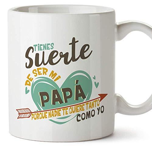 MUGFFINS Taza Papá (Tienes suerte de ser mi papá) - Regalos Originales y Divertidos para el Día del Padre