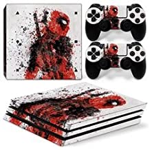 Elton Dead-pool Red & White Theme 3M Skin Sticker Cover For PS4 Pro Console And Controllers
