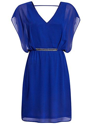 oodji Collection Femme Robe en Mousseline avec Ceinture Décorée Bleu (7500N)