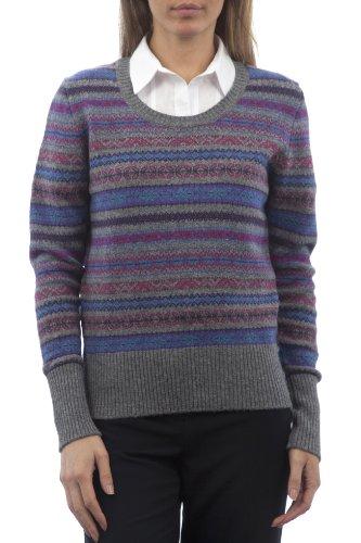 Hawick Knitwear Damen HM213 100% Lammwolle Pullover mit Fair Isle Muster-Taubengrau-X-Large