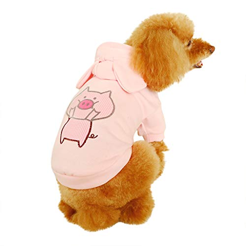BBring Schwein Kostüm Muster Hoodie Kapuze für Katzen Hunde, Kurzarm Stricken Shirt Nette dicken Herbst Winter Warm Haustier Kleidung für Hündchen Kätzchen (M, Rosa) (Nettes Schwein Kostüm)