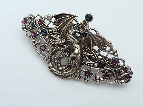 Fermaglio per capelli con drago in argento antico