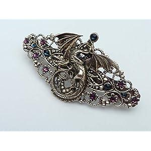 Haarspange mit Drachen in antiksilber
