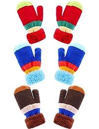 3 Paires Mitaines Tricot Enfants Gants d Hiver Chauds Gants en Crochet  Rayure Gants Chauds de Doigts Complets pour… 4f7212287dc