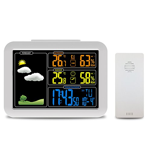 Protmex Weather Station, Atomic Wireless Wetter Station Mit Wecker, Schlummern, Indoor/Outdoor Temp/Feuchte