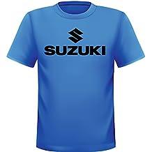 Streetwall T Shirt Blau Suzuki Schriftzug Mit Logo Kurzarm Rundem Ausschnitt Unisex Baumwolle