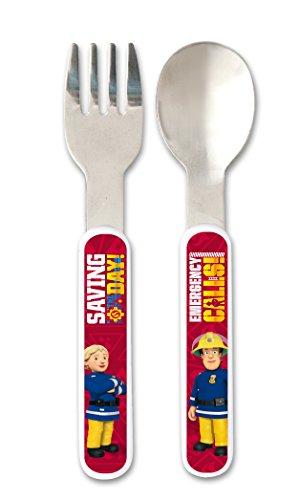 Feuerwehrmann Sam 7 teiliges Melamin Küchenset für Kinder, Teller, Müslischale, Suppenteller, Besteckset, Kinderbecher und Platzset als preiswertes Tisch-Set - 5