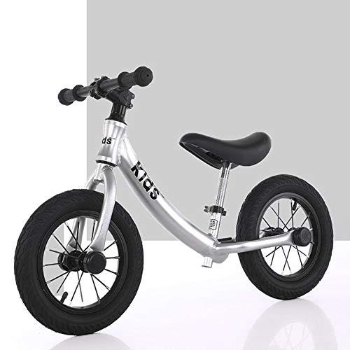 Aluminiumlegierung Kinder Gleichgewicht Auto High-End-Baby-Waage Auto Scooter kein Pedal-Roller-Fahrrad mit Fußstützen, Gold-12 Inches,Silber