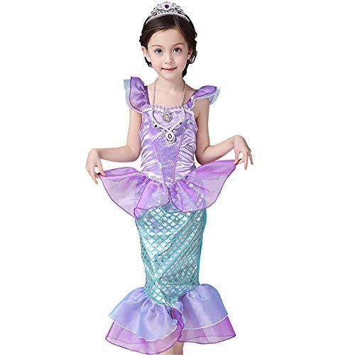 BaronHong Kleine Meerjungfrau Ariel Kostüm Kleid Badeanzug Mädchen Pailletten Prinzessin Geburtstag Party Cosplay Kleidung (lila, 100 cm)