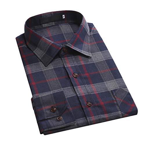 Herren Beiläufig Normal Plaid Hemden Blumen Geschäft Lange Ärmel Taste T-Shirt Oben Bluse