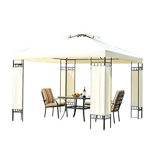 Outsunny 3m x 3m Garten Pavillon Partyzelt Überdachung Pavillon Shelter Stahlrahmen, creme Weißes Sofa Sectional Möbel