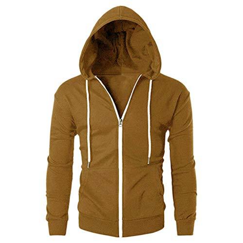 JYJM Herren Casual Slim Fit Langarm-Reißverschluss-Hoodie mit Pocket Outwear-Bluse Herren Winter Winter-Jacke mit Biker Herren Essential...