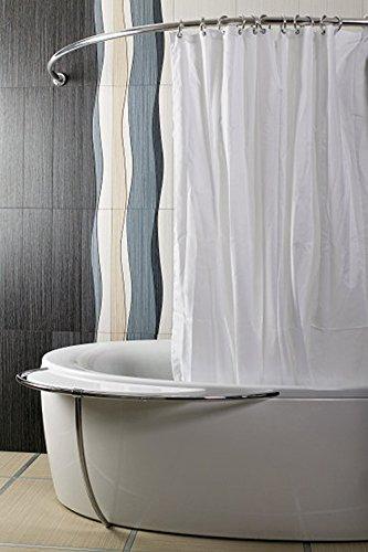 duschvorhangstange oval ALU EINTEILIG Duschvorhangstange Bogenstange 120x 120 Chrom / Silber Oval Eckduschstange