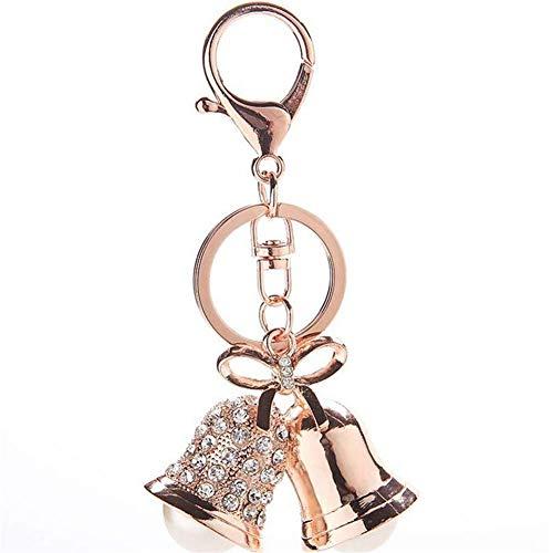 Ogquaton Schlüsselbund Charm Rose Gold Glocke Anhänger Schlüsselanhänger Handtasche Auto Dekoration langlebig und nützlich -