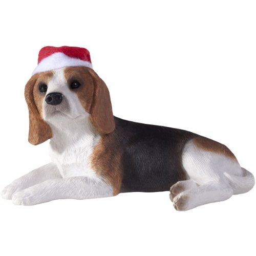 Sandicast Beagle with Santa Hat Christmas Ornament -