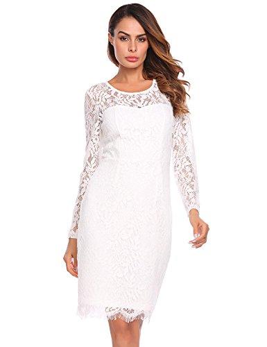 Keland Damen Spitzenkleid Langarm mit Öffnung am Rücken Bodycon Bleistift Cocktail Party Abendkleid, Body blickdicht unterlegt Weiß