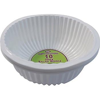 4 x WHITE PLASTIC DISPOSABLE SQUARE SERVING BOWLS PLATTERS 28cm PARTY TABLEWARE