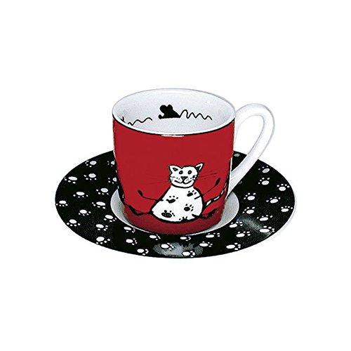 Konitz Animal étages Cat Tasse à espresso et soucoupe, Rouge, 20.4 x 14.4 x 11.6 cm