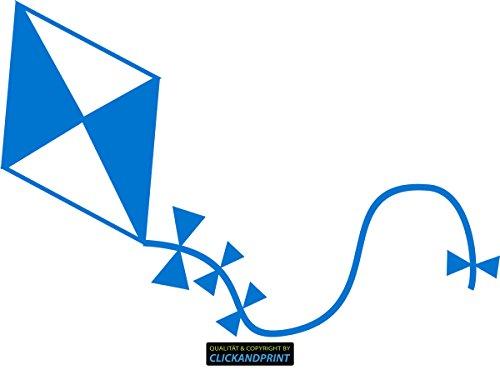CLICKANDPRINT Aufkleber » Papier-Drachen, 10x6,7cm, Euroblau • Dekoaufkleber / Autoaufkleber / Sticker / Decal / Vinyl