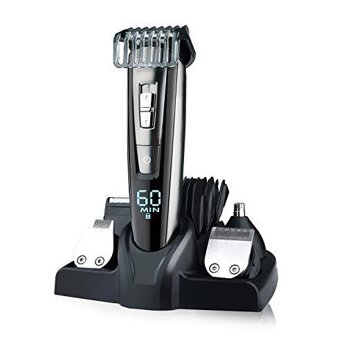 Hatteker Barbero Electrico Cortapelos Profesional Hombre Cortador Pelo Cortadora de Pelo Recargable Máquina de Afeitar Recortadora Barba y Precisión Impermeable 5 en 1