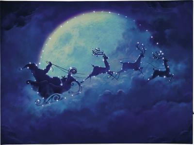 LED-Bild Weihnachtsmann mit Schlitten u. Rentieren am Himmel