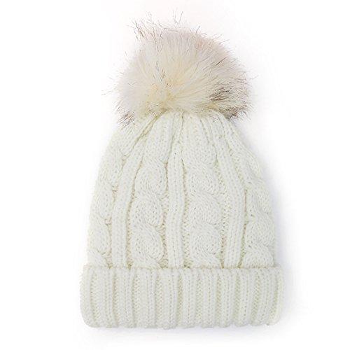 Kuyou Donna Berretto in maglia Cappello Inverno Sci Beanie Cap (Bianco)