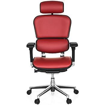Bürostuhl ergonomisch einstellen  hjh OFFICE 652242 Luxus Chefsessel ERGOHUMAN Echt-Leder Rot ...