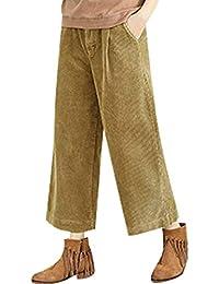Bigassets Femmes Taille Elastique Velours côtelé Pantalon Longueur Cheville  Pantalon Large 0d1a8d45a37