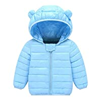 HOMEBABY Kids Baby Girl Boy Winter Warm Ears Cotton Hooded Coat Down Padded Cloak Jacket Lightweight Toddlers Thick Cardigan Hoodie Casual Long Sleeve Tops Clothes