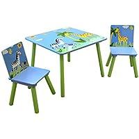 Preisvergleich für LibertyHouseToys Safari Tisch und Zwei Stuhl Set, Holz, Mehrfarbig