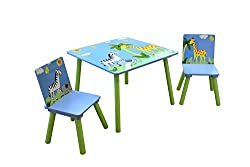 Liberty House Toys Safari Table & 2 Chairs Set, Wood Multi-Colour, 60x60x44 cm