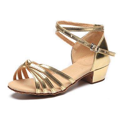 Silence @ enfants de danse Chaussures en cuir Cuir Latin talons Plat Talon Practise Intérieur/argenté/doré doré
