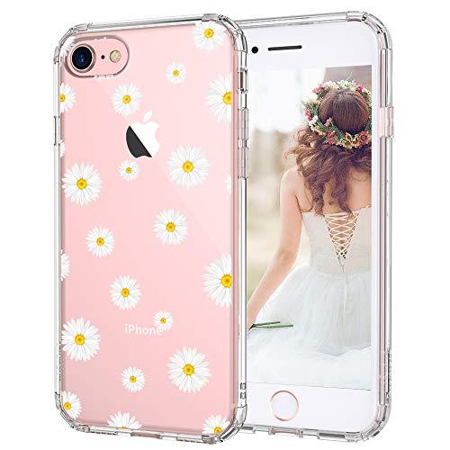 MOSNOVO iPhone 8 Hülle, iPhone 7 Hülle, Gänseblümchen Blühen Blumen Flower Muster TPU Bumper mit Hart Plastik Hülle Durchsichtig Schutzhülle Transparent für iPhone 7 / iPhone 8 (Daisy)
