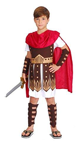 Kostüm Brustpanzer Römischer (Gladiator Kostüm Kinder rot-weiß-braun - komplettes Römer Kostüm für Kinder Jungen - römischer Krieger Kostüm Kind)