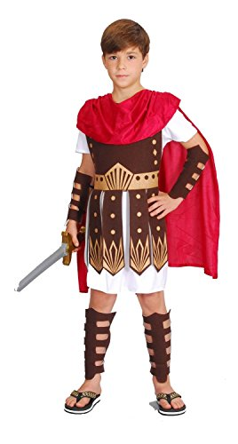Gladiator Kostüm Kinder rot-weiß-braun - Römer Kostüm Kinder Jungen - römischer Krieger Kostüm Kind (Gladiator Kostüme Kinder)