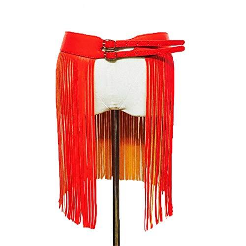 Hippie Wilde Kostüm - Yzibei Wild Frauen PU Leder Einstellbare Körper Harness Gürtel Hippie Boho Fransen Quaste Taille Gurtband Kostüm Party Stage Performance Rock Gürtel (Farbe : Rot)