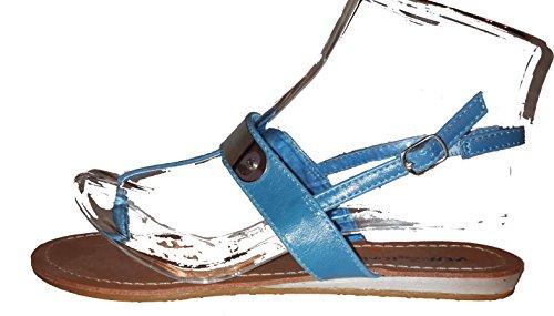 Sexy sandali, infradito donna, flip flop, beige, marrone, bianco, blu, rosso, nero-oro, rosa-rosso e leopardo, modello 11064105006001, modelli e numeri differenti. Azurro.
