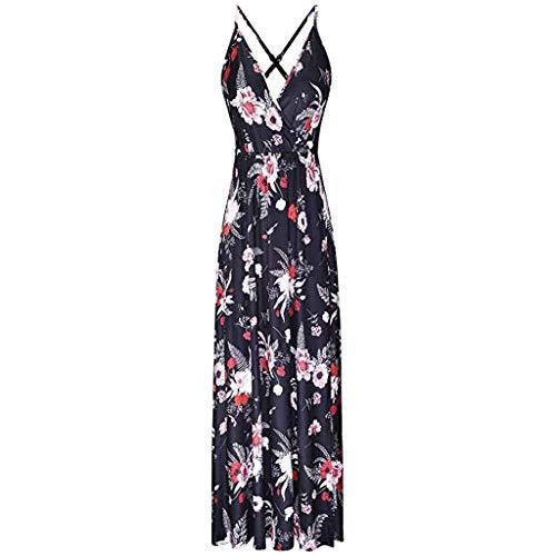YIlanglang Frauen Sommer tiefem V-Ausschnitt Blumendruck Strap Maxi Split Kleid, Damen Elegante Vintage Retro Long Beach Abendkleid für Party Beachwearing Sommerkleid -