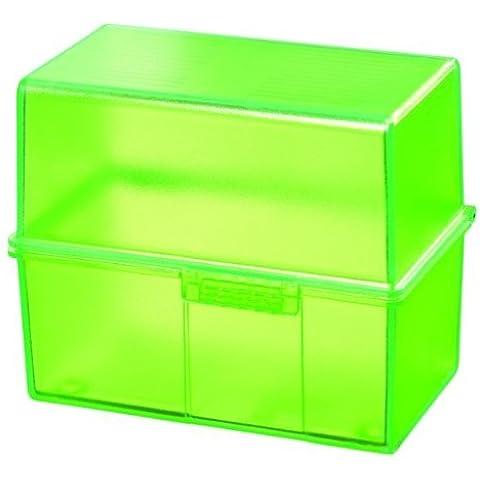Han 976-70 - Caja para tarjetas (formato A6, capacidad para 400 tarjetas, plástico), color verde translúcido