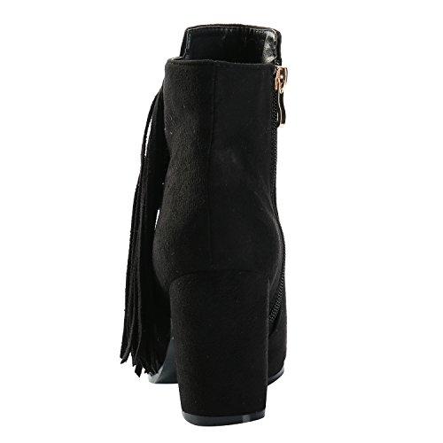Alexis Leroy Stivaletti Chelsea moda inverno in velluto con nappe donna Nero