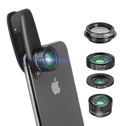 Handy Objektiv 4 in 1 0,63-Fach Weitwinkel Objektiv 15-Fach Makroobjektiv 230 ° Fischaugenobjektiv CPL-Objektiv, geeignet für 95% der auf dem Markt befindlichen Mobiltelefone.