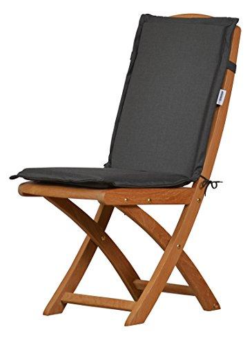 2 x Anthrazit graue Sitzauflage für Garten-Stühle & Klappstühle, 88 x 40 cm | Premium Polster-Auflage aus lichtechtem Dralon ✓ Maschinen-waschbares Stuhl-Kissen für Gartenmöbel ✓ Höchster Sitzkomfort als Sitzkissen für Niedriglehner